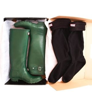 Hunter Green Original Tall Rain Boots 10F w/ Socks
